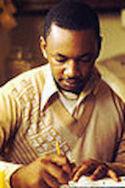 Black male writing