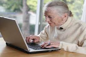 elder woman on computer